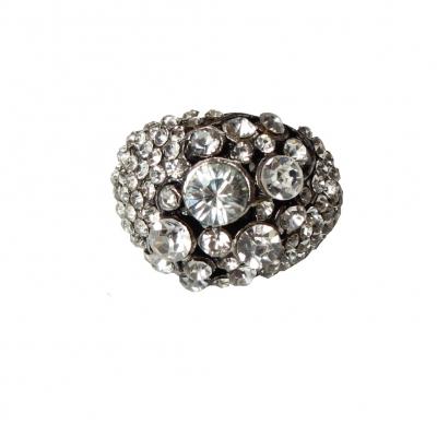 Edelstahl Ring mit Strass Gr. 52 = 16,5 mm Silber - 2