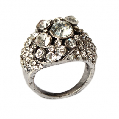 Edelstahl Ring mit Strass Gr. 52 = 16,5 mm Silber - 3
