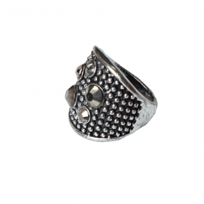 Edelstahl Ring mit Strass Silber - 1