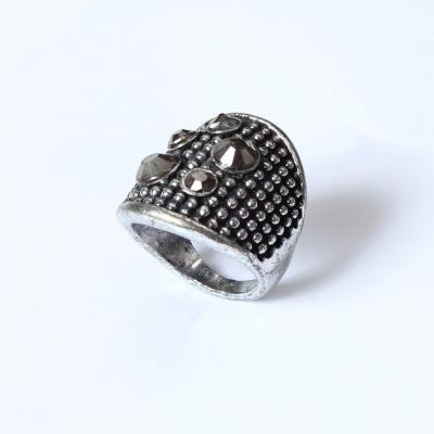 Edelstahl Ring mit Strass Silber - 2