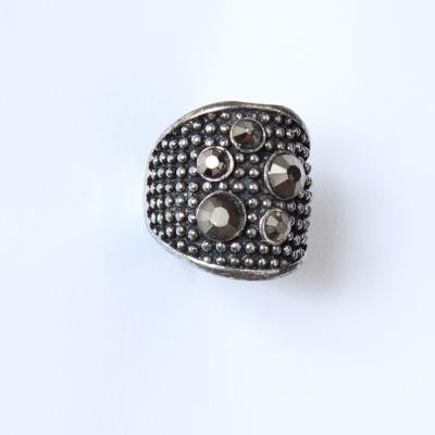 Edelstahl Ring mit Strass Silber - 3