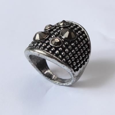 Edelstahl Ring mit Strass Silber - 4
