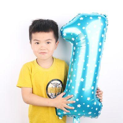 Zahl Luftballon XL 75CM Nummer Folienballon Blau 1 - 3