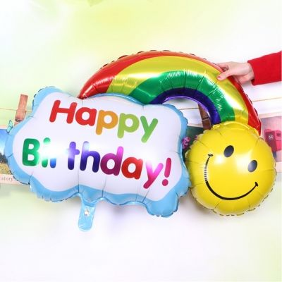 Happy Birthday Folienballon 30 x 20 CM Regenbogen Luftballon - 1