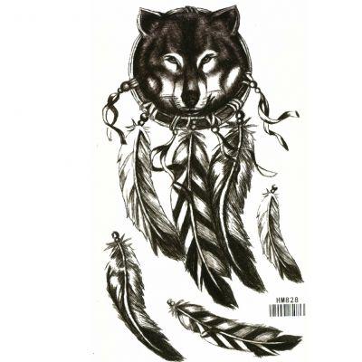 Temporäres Tattoo Wolf Federn Design Temporary Klebetattoo Körperkunst - 1