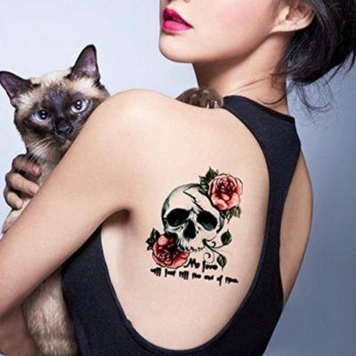 Temporäres Tattoo Totenkopf Rosen Federn Design Temporary Klebetattoo Körperkunst - 3