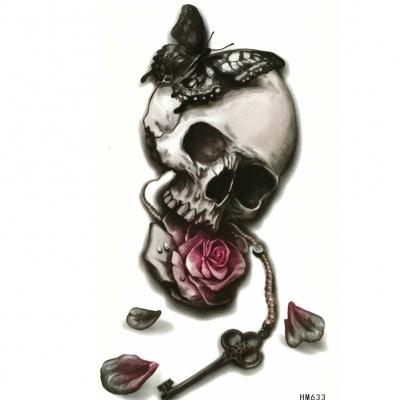 Temporäres Tattoo Totenkopf Rosen Federn Design Temporary Klebetattoo Körperkunst - 1