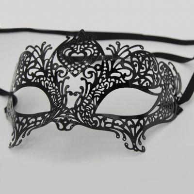 Venezianische Metall Augenmaske Schwarz - 1