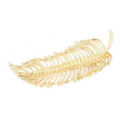 Metal Haarklammer Feder in der Farbe Gold - 1