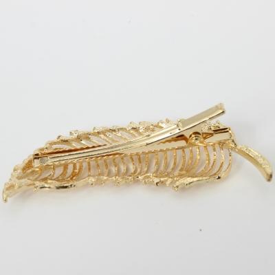 Metal Haarklammer Feder in der Farbe Gold - 3