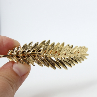 Metal Haarklammer Blatt in der Farbe Gold - 2