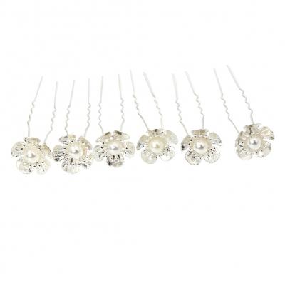 6 Haarnadeln Perle Blume Hairpins Silber - 1