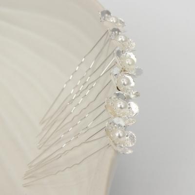 6 Haarnadeln Perle Blume Hairpins Silber - 2