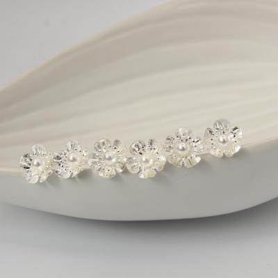 6 Haarnadeln Perle Blume Hairpins Silber - 3