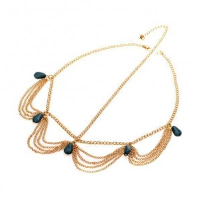 Edles Haarband Haarkette mit Steinen in Marmor-Optik - 1