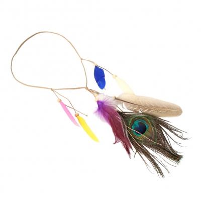 Geflochtenes Haarband Haarkette mit Federn - 1