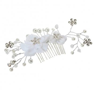 Metal Haarklammer Feder in der Farbe Silber Straß und Perlen - 1