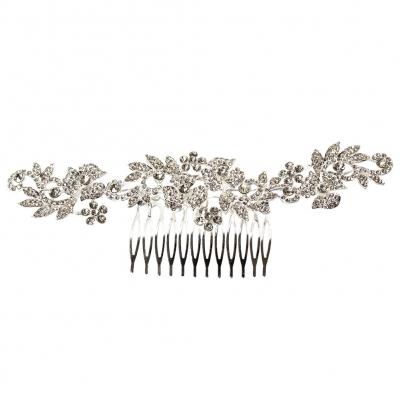 Metal Haarklammer Feder in der Farbe Silber Straß - 1