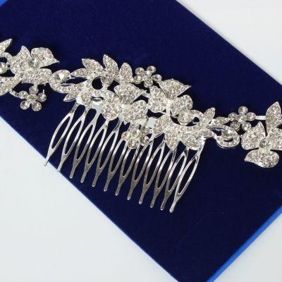 Metal Haarklammer Feder in der Farbe Silber Straß - 2