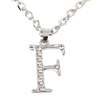 Halskette mit Strass Buchstaben Anhänger Buchstabe F - 2