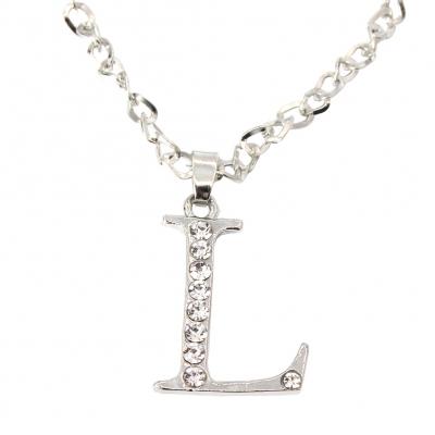 Halskette mit Strass Buchstaben Anhänger Buchstabe L - 2