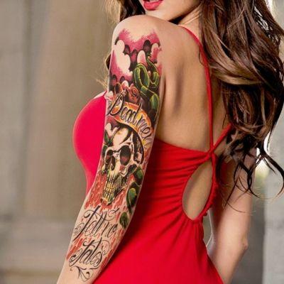Temporäres Tattoo Totenkopf Tätowierung Bunt Design - 4