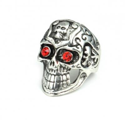 3D Edelstahl Ring Totenkopf Skull Silber Strass - 1