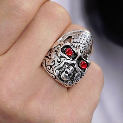 3D Edelstahl Ring Totenkopf Skull Silber Strass - 3