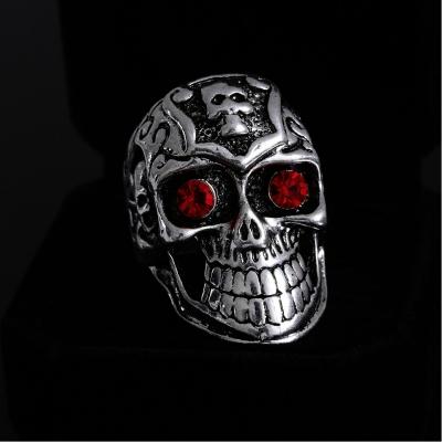 3D Edelstahl Ring Totenkopf Skull Silber Strass - 4
