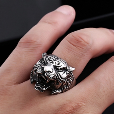 3D Edelstahl Ring Tiger Panthera tigris Silber - 2