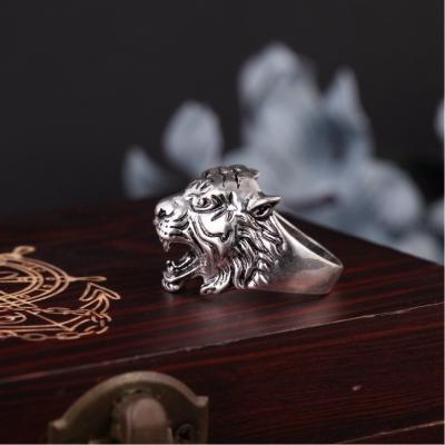 3D Edelstahl Ring Tiger Panthera tigris Silber - 3