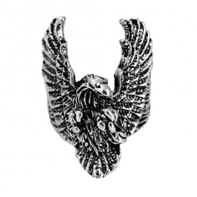 3D Edelstahl Ring Adler Eagle Silber - 1