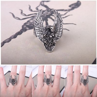 3D Edelstahl Ring Adler Eagle Silber - 2