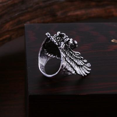3D Edelstahl Ring Adler Eagle Silber - 5
