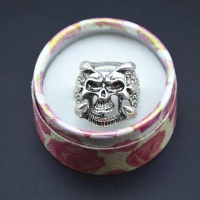 3D Edelstahl Ring Totenkopf Skull Silber - 5