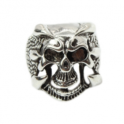 3D Edelstahl Ring Totenkopf Skull Gr. 61 = 19,4 mm Silber - 1