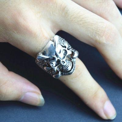 3D Edelstahl Ring Totenkopf Skull Gr. 61 = 19,4 mm Silber - 2