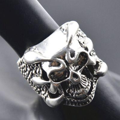 3D Edelstahl Ring Totenkopf Skull Gr. 61 = 19,4 mm Silber - 3