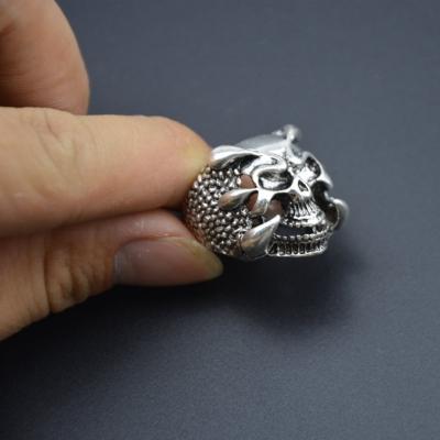 3D Edelstahl Ring Totenkopf Skull Gr. 61 = 19,4 mm Silber - 4