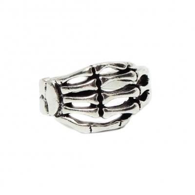3D Edelstahl Ring Skeletthand Skelett Knochen Silber - 1