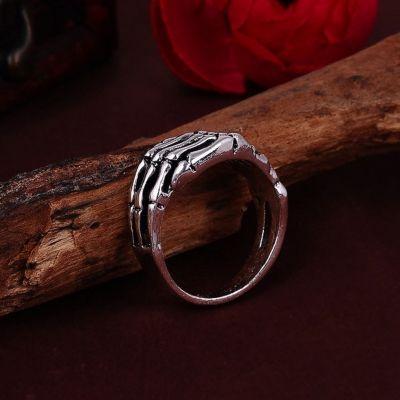 3D Edelstahl Ring Skeletthand Skelett Knochen Silber - 2