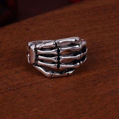3D Edelstahl Ring Skeletthand Skelett Knochen Silber - 3