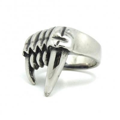 3D Edelstahl Ring Reißzähne Vampirzähne Silber - 1