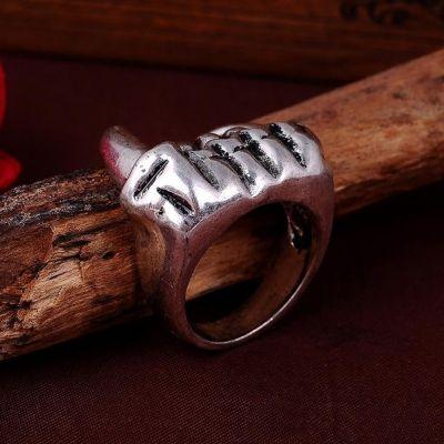3D Edelstahl Ring Reißzähne Vampirzähne Silber - 2