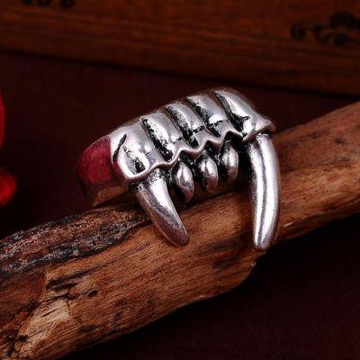 3D Edelstahl Ring Reißzähne Vampirzähne Silber - 3