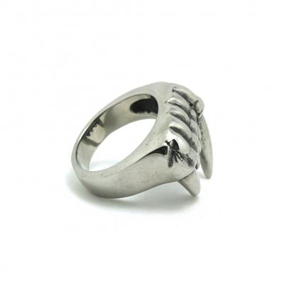 3D Edelstahl Ring Reißzähne Vampirzähne Silber - 4