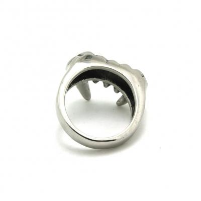 3D Edelstahl Ring Reißzähne Vampirzähne Silber - 5