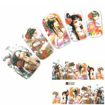 Tattoo Nail Art Japan Manga Girl Nagel Sticker - 0