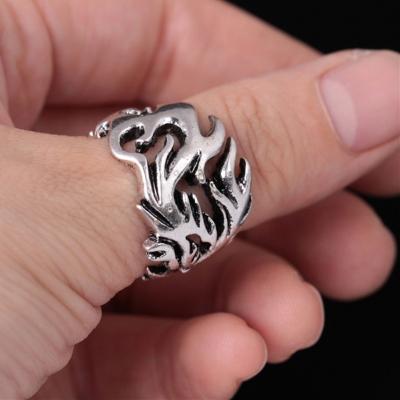 3D Edelstahl Ring Drache Silber - 1