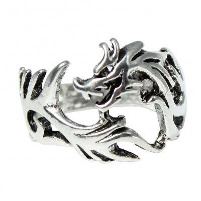 3D Edelstahl Ring Drache Silber - 2